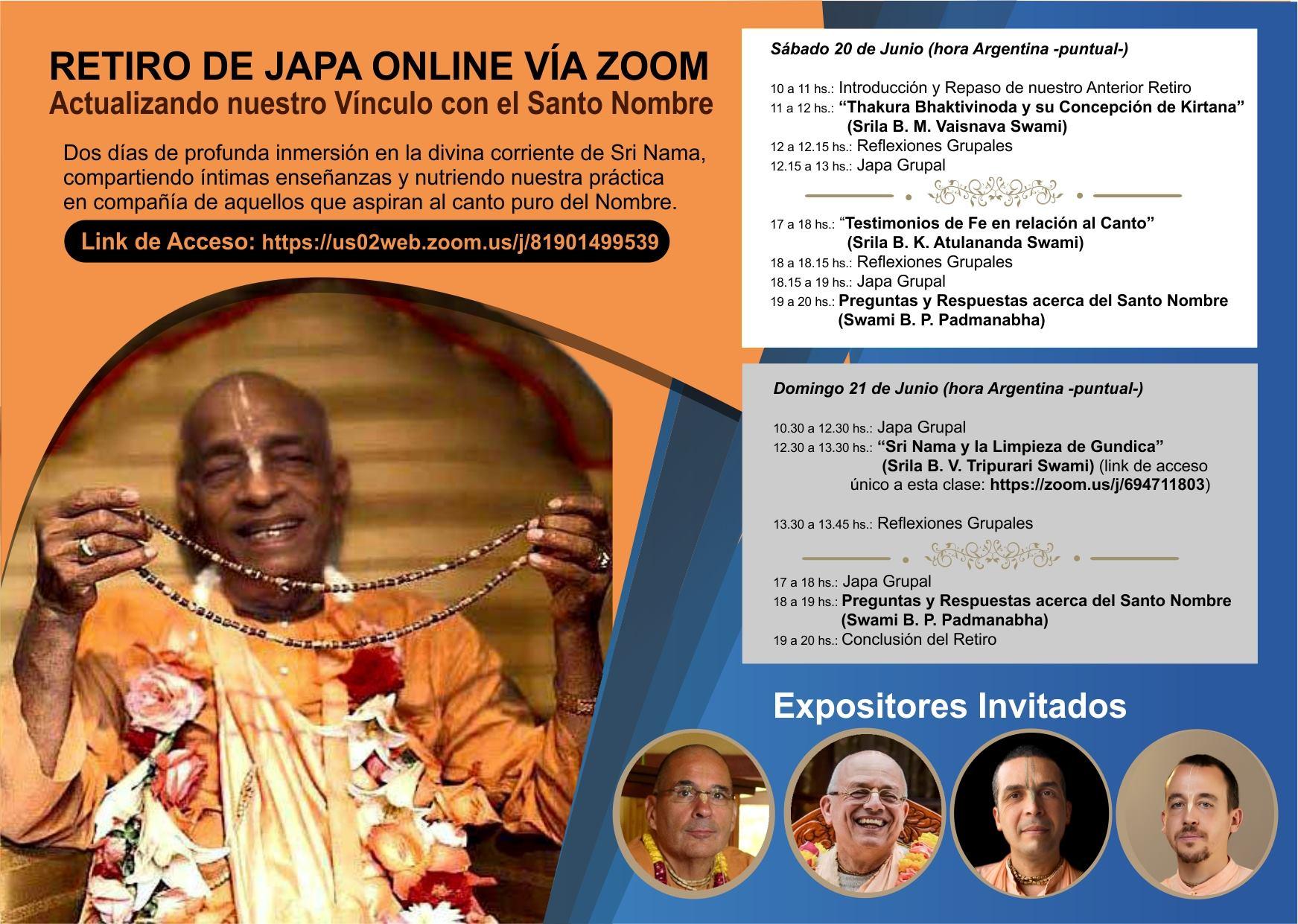 Retiro de Japa Online Vía Zoom